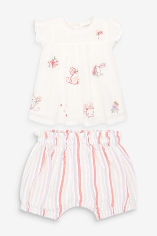 Cream Character Embroidered Blouse And Bloomer Set (0mths-3yrs)
