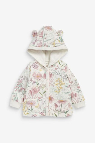 Pink Floral Cosy Popper Lightweight Jacket (0mths-2yrs)