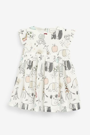 Grey Character Print Dress And Cardigan Set