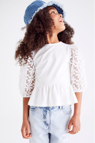 White Mesh Floral Sleeve Top (3-16yrs)
