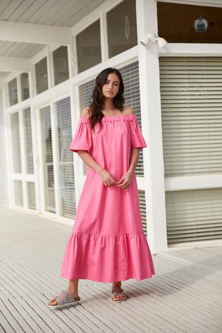 Pink Off The Shoulder Maxi Dress
