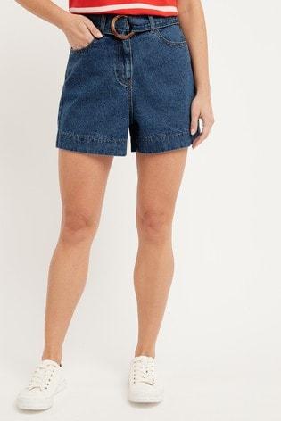 Dark Blue Belted High Waist Denim Shorts