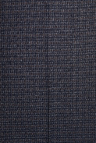 Navy Slim Fit Check Trousers With Elasticated Waist
