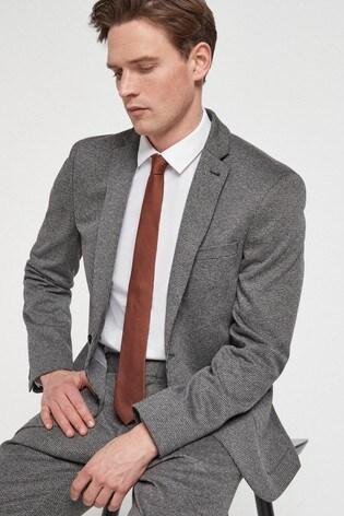 Grey Slim Fit Jersey Motionflex Suit: Jacket