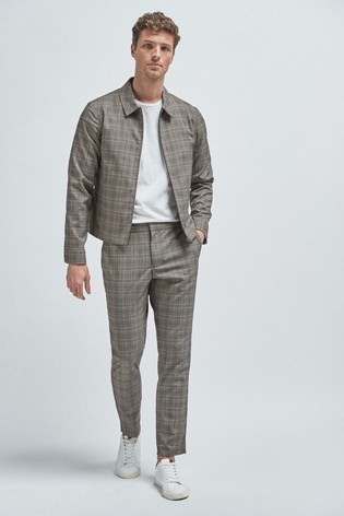 Grey/Yellow Check Zip Through Jacket
