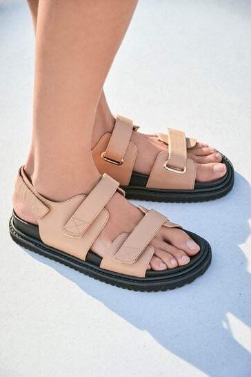Camel Padded Footbed Slingback Sandals