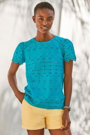 Teal Broderie T-Shirt