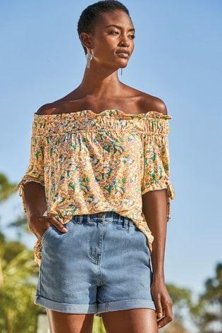 Teal Floral Print Ruched Bardot Top