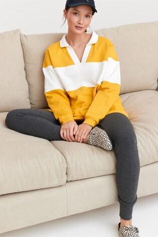Ochre with White Stripe Rugby Pyjama Set