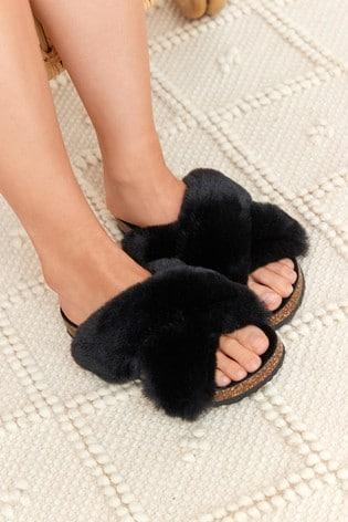Black Crossover Cork Faux Fur Slider Slippers
