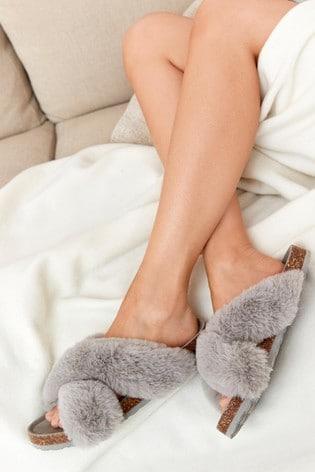 Grey Crossover Cork Faux Fur Slider Slippers