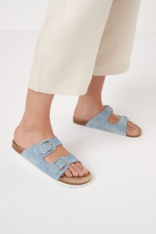 Blue Two Band Footbed Mules