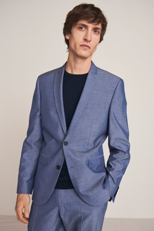 Light Blue Slim Fit Two Button Suit: Jacket