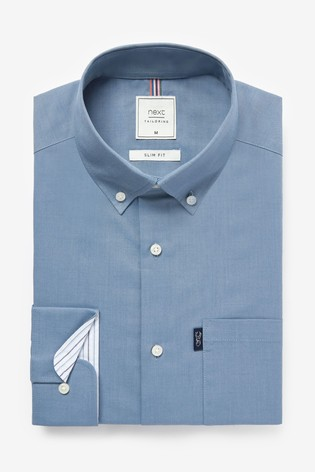 Dusky Blue Slim Fit Single Cuff Easy Iron Button Down Oxford Shirt