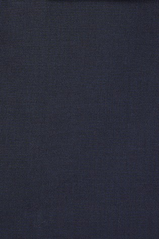 Navy Tailored Fit Wool Mix Textured Suit: Jacket