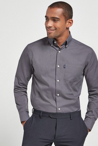 Charcoal Regular Fit Single Cuff Easy Iron Button Down Oxford Shirt
