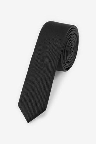 Black Skinny Twill Tie