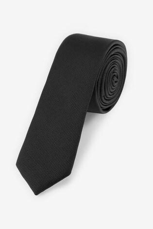 Black Slim Twill Tie