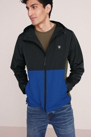 Black/Cobalt Shower Resistant Colourblock Jacket With Fleece Lining