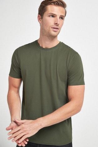 Dark Khaki Green Regular Fit Crew Neck T-Shirt