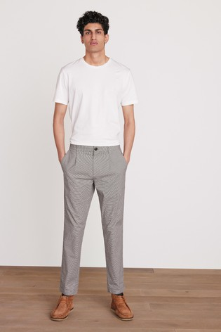 Neutral Slim Fit Cotton Check Chinos