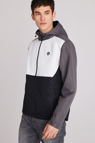 Black/White Shower Resistant Colourblock Jacket With Fleece Lining