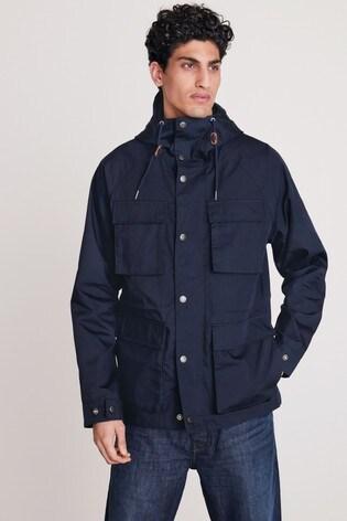 Navy Shower Resistant Hooded 4 Pocket Jacket