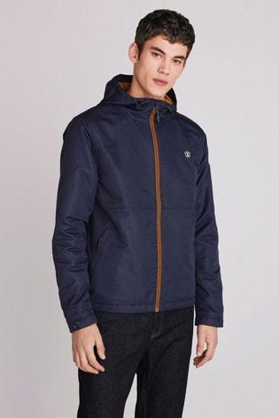 Navy Shower Resistant Jacket With Fleece Lining