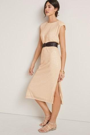 Champagne Sequin Column Dress