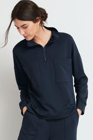 Navy Zip Neck Pocket Sweatshirt