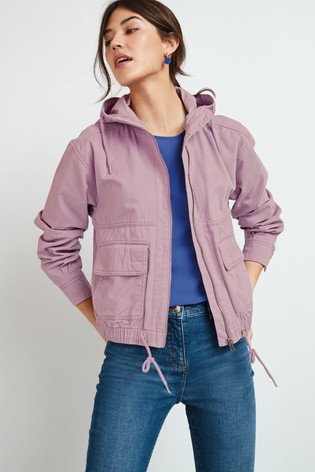 Lilac Cropped Cotton Bomber Jacket