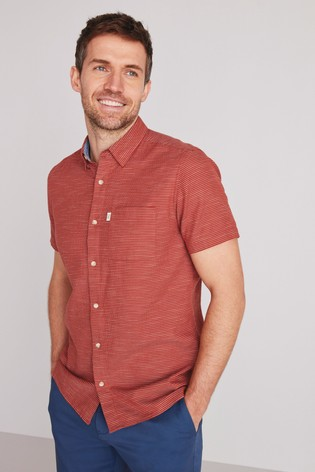 Rust Orange Regular Fit Regular Fit Textured Short Sleeve Shirt