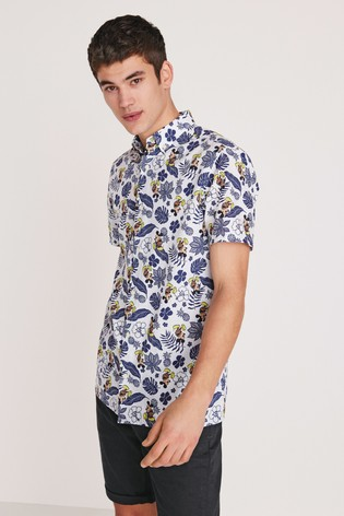 White Regular Fit Mickey Mouse Leaf Print Shirt