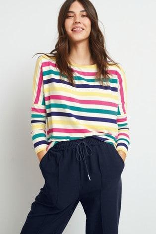 Rainbow Stripe Dolman Long Sleeve Top