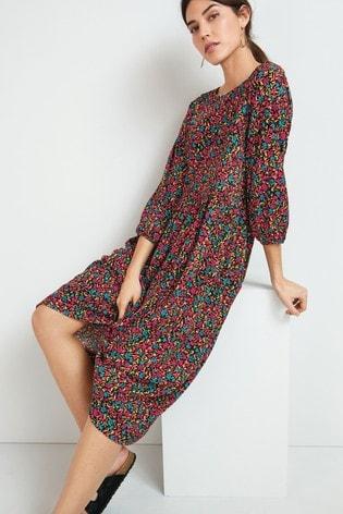 Ditsy Floral Tier Midi Dress