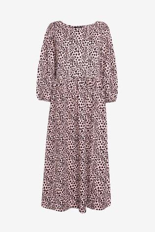 Mono Animal Tier Midi Dress