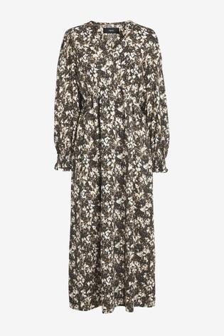 Grey Print Volume Sleeve Midi Dress