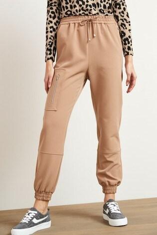 Tan Zipped Casual Joggers