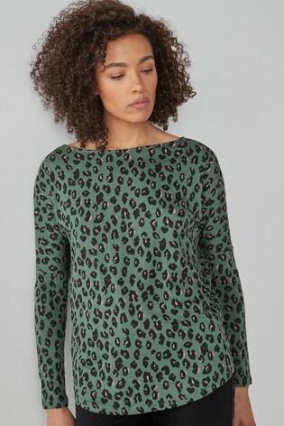Green Animal Dolman Long Sleeve Top