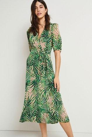 Green Palm Print Tie Front Midi Dress