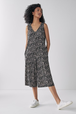 Black Animal Culotte Jumpsuit