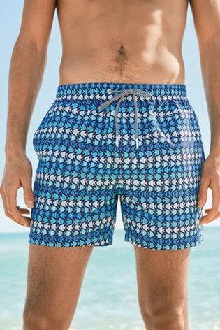 Blue/White Geo Fish Print Swim Shorts