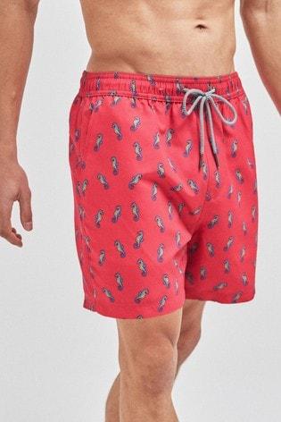 Coral Seahorse Print Swim Shorts