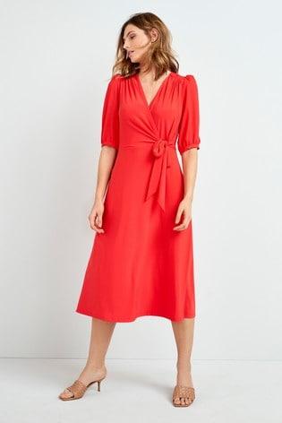 Orange Tie Front Midi Dress