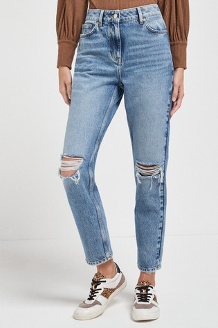 Mid Ripped Mom Jeans
