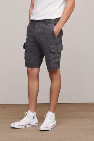 Charcoal Regular Length Premium Laundered Cargo Shorts