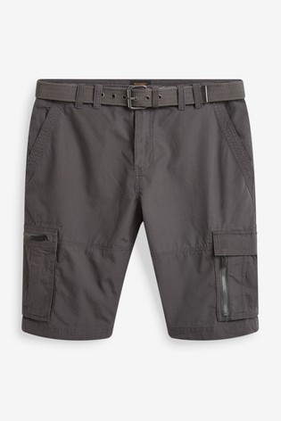 Charcoal Belted Cargo Shorts