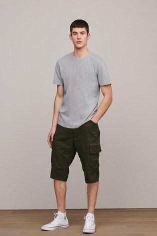Khaki Laundered Cotton Long Cargo Shorts With Stretch