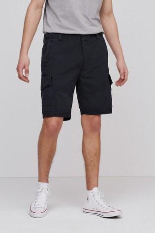 Black Regular Length Premium Laundered Cargo Shorts