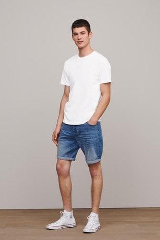 Light Blue Straight Fit Premium Wash Denim Shorts With Stretch